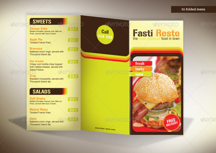 tri fold takeaway menu fasti resto