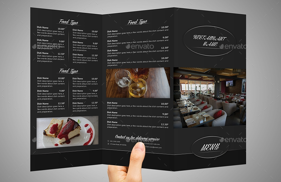 tri fold takeaway restaurant menu and business card