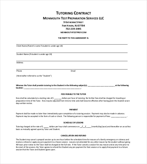 tutoring contract example