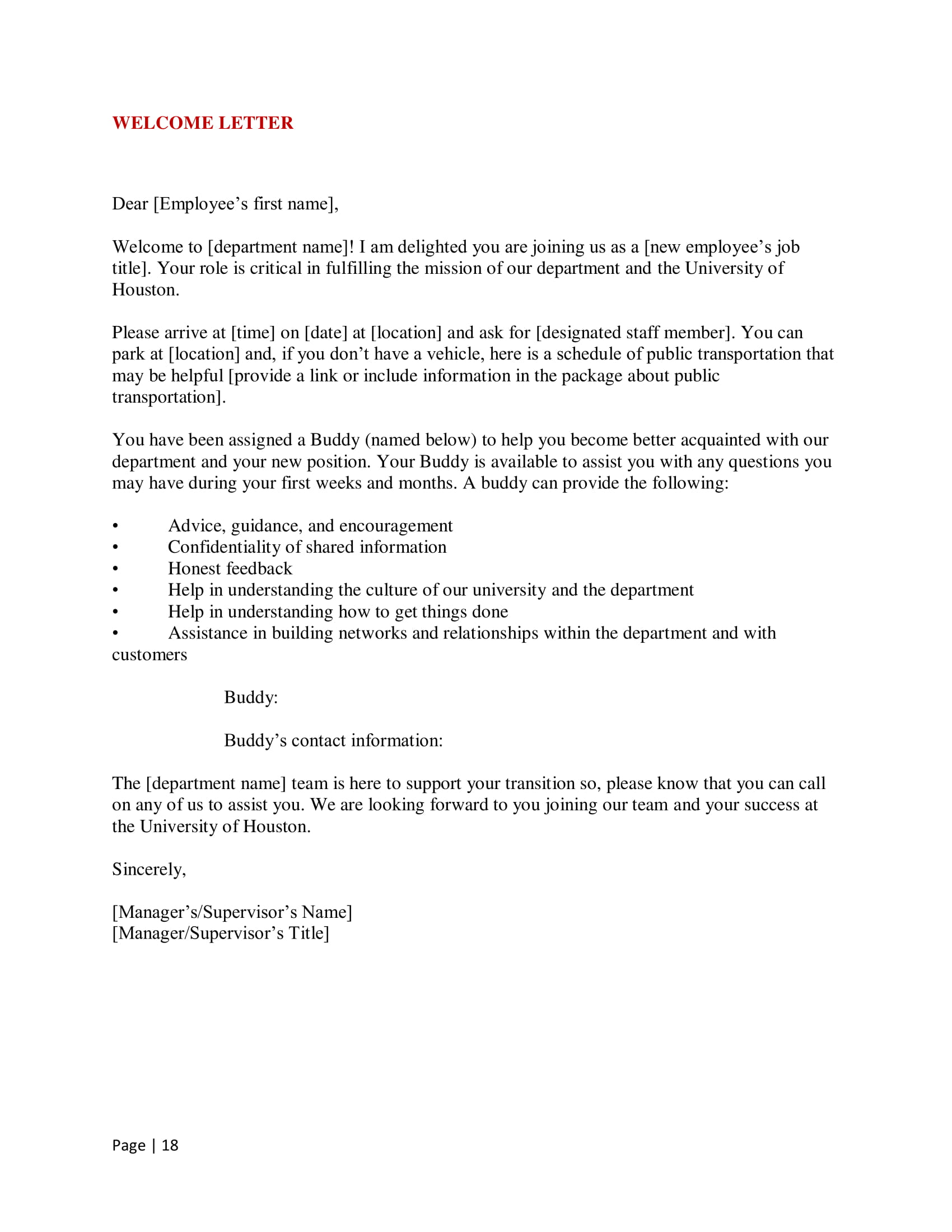 Welcome Letter to New Hire Example. uh onboarding manual 19