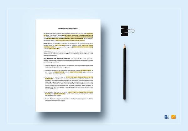 vendor partnership agreement