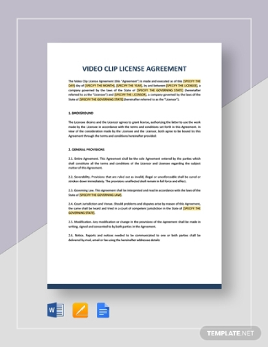 video clip license agreement