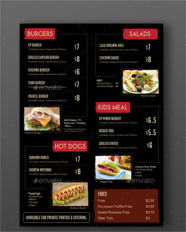 vintage burger menu