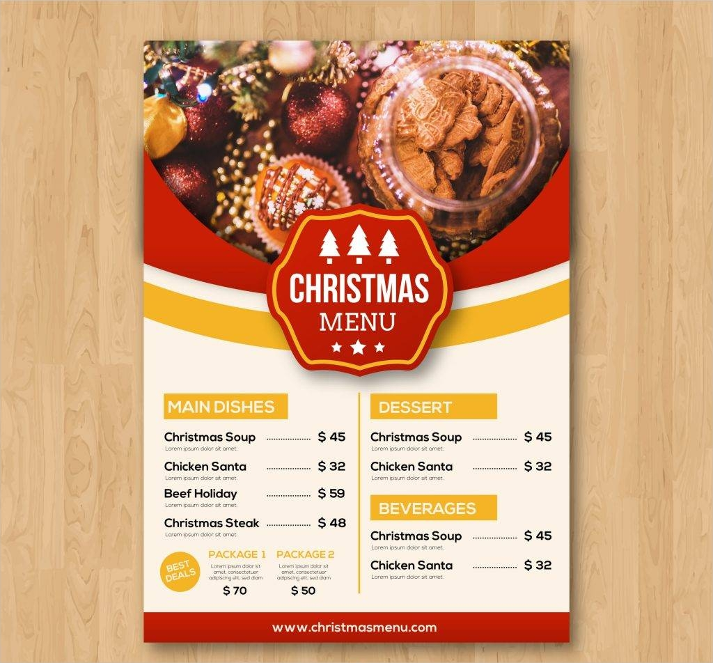 vintage christmas menu free vector
