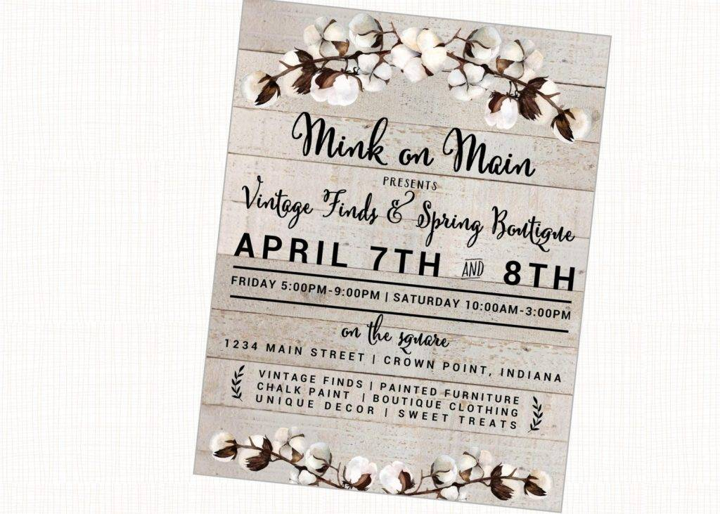 vintage market fair fest bazaar craft show rustic printable flyer