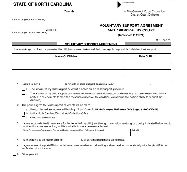 voluntary support agreement