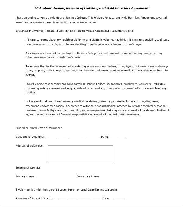 volunteer waiver agreement