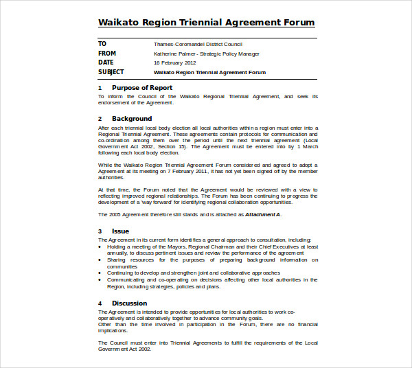 waikato region triennial agreement