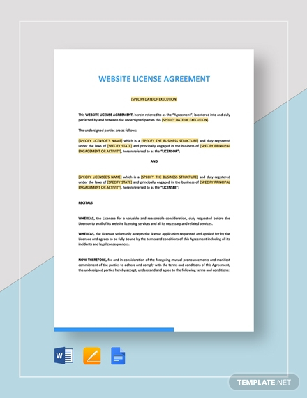 website license agreement