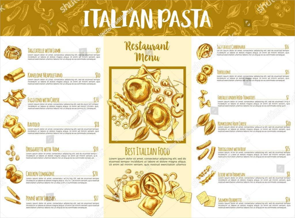 white and brown italian pasta menu