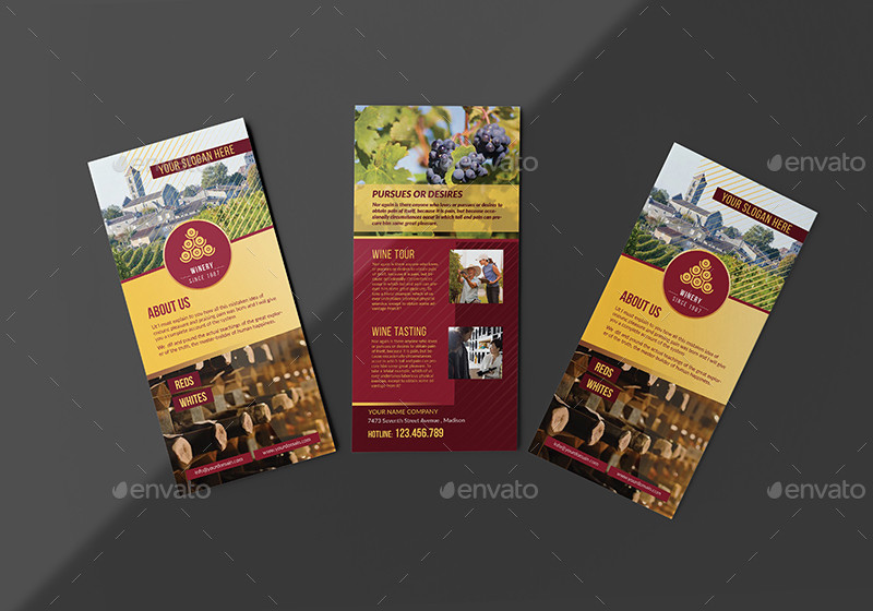 winery or rack card and voucher template