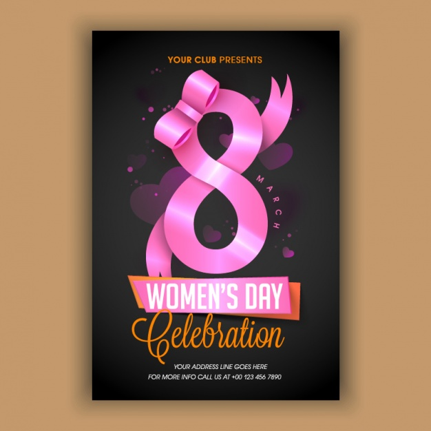 womens day flyer with pink ribbon