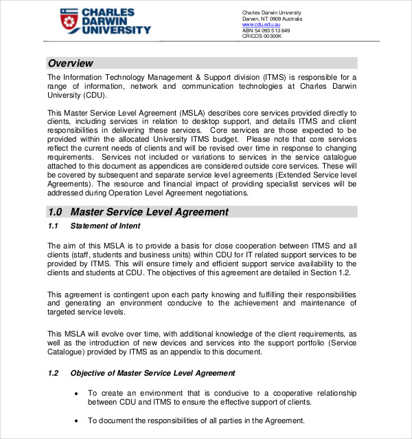 Aa Master Service Level Agreement