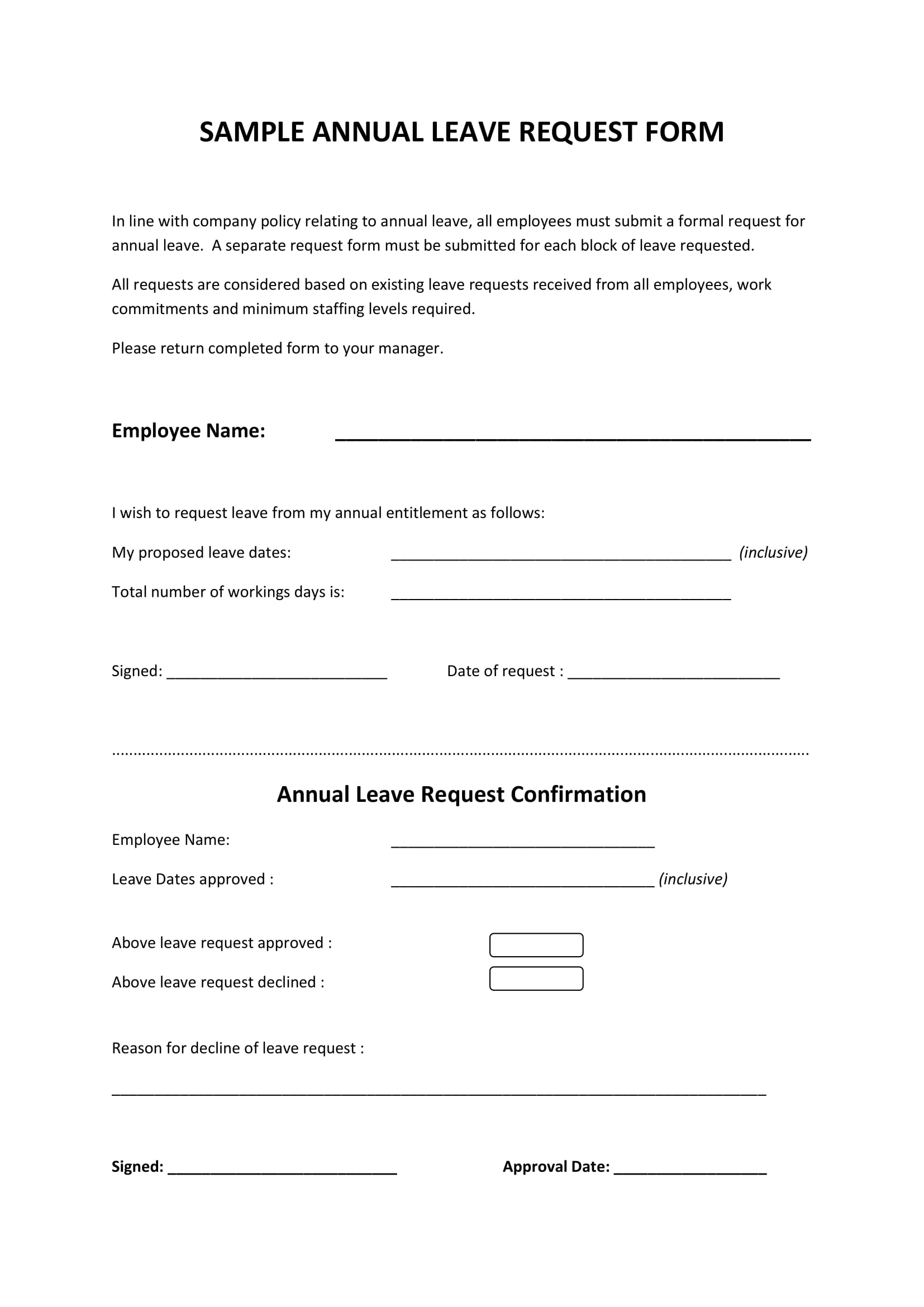9 leave request form examples pdf annual leave request form example altavistaventures Choice Image