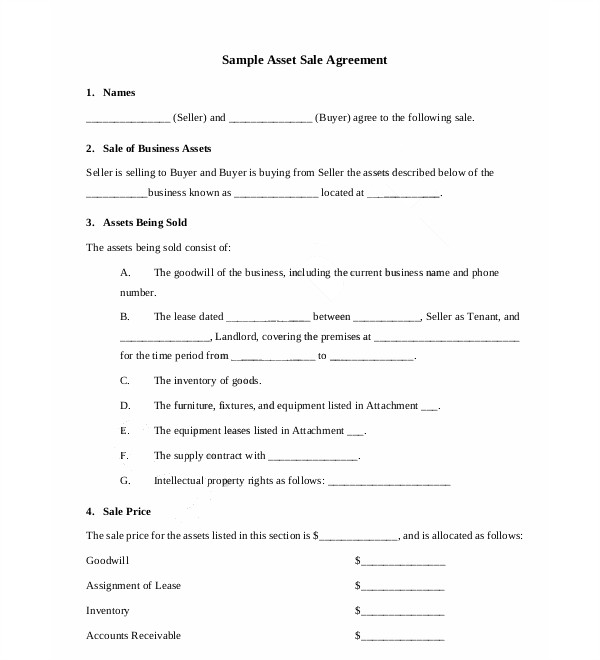 business asset sale agreement