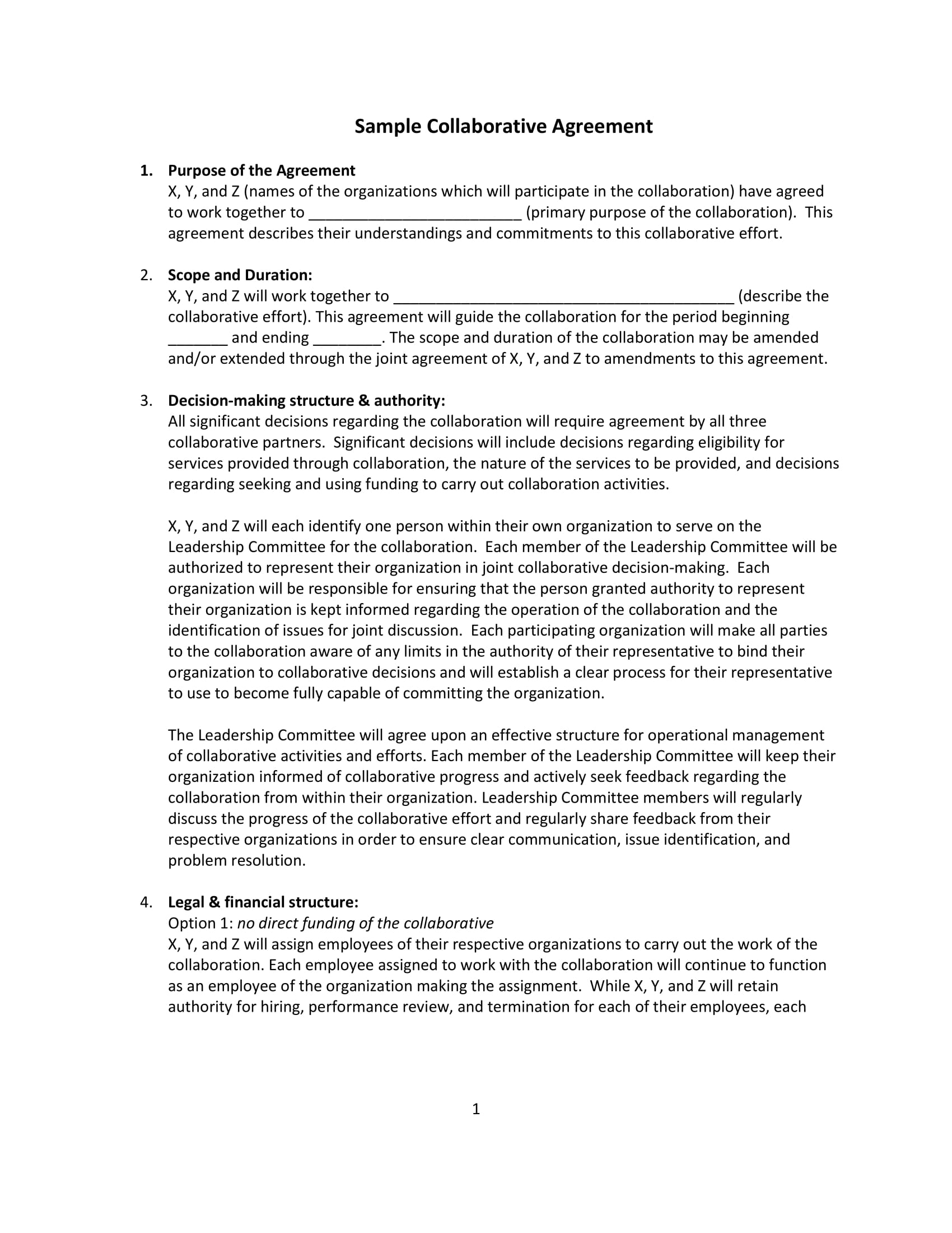 19 agreement templates and examples pdf for Collaboration contract template