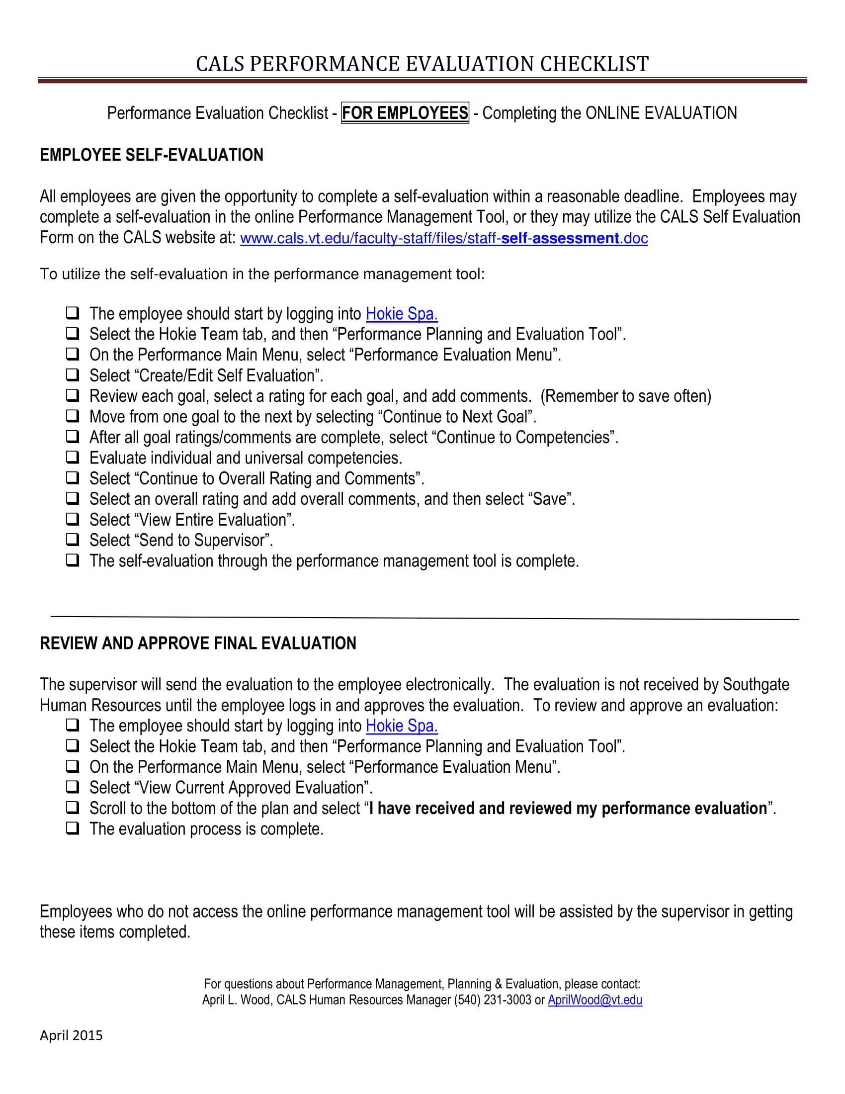 evaluation checklist employees 1