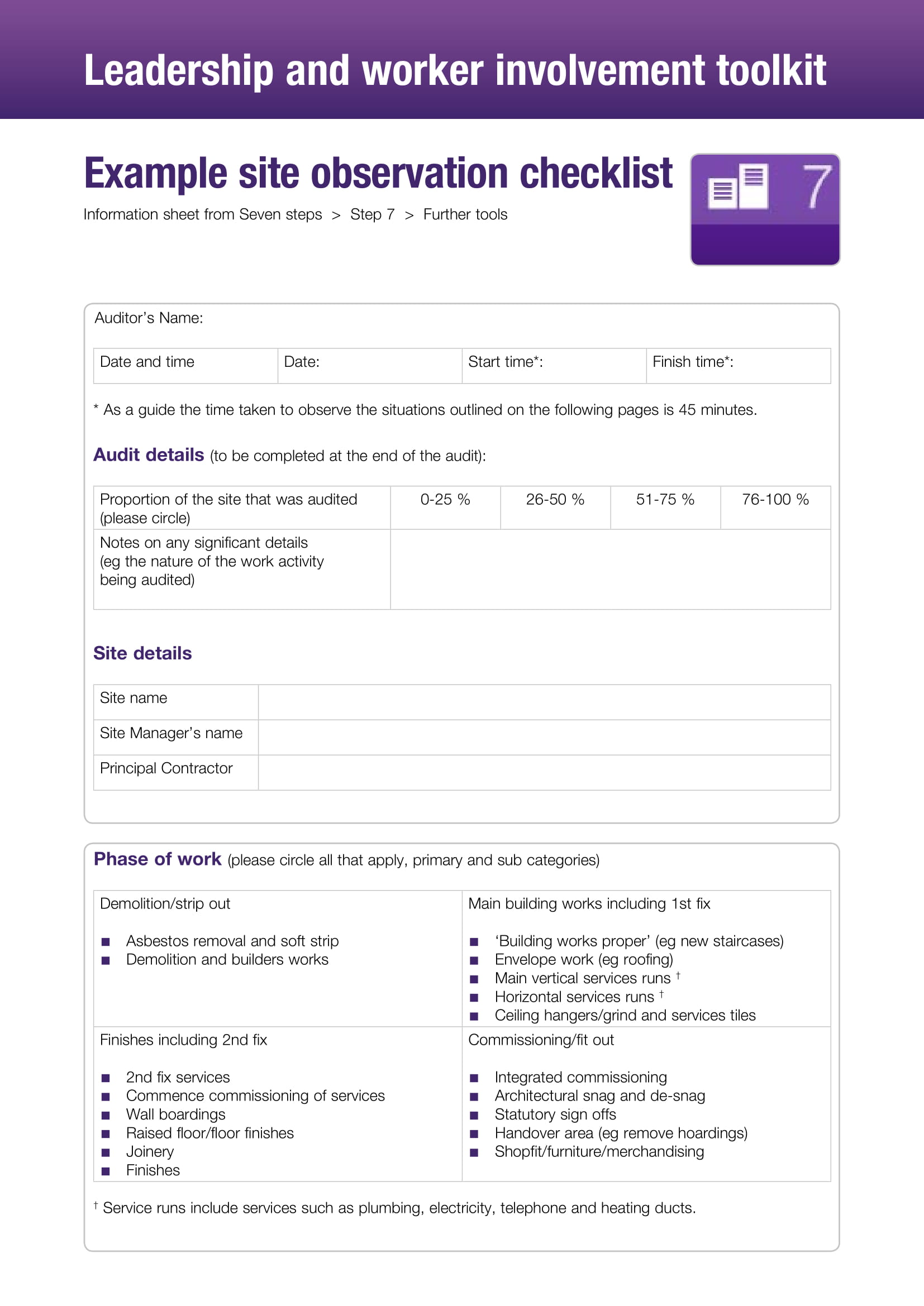 example site observational checklist 1