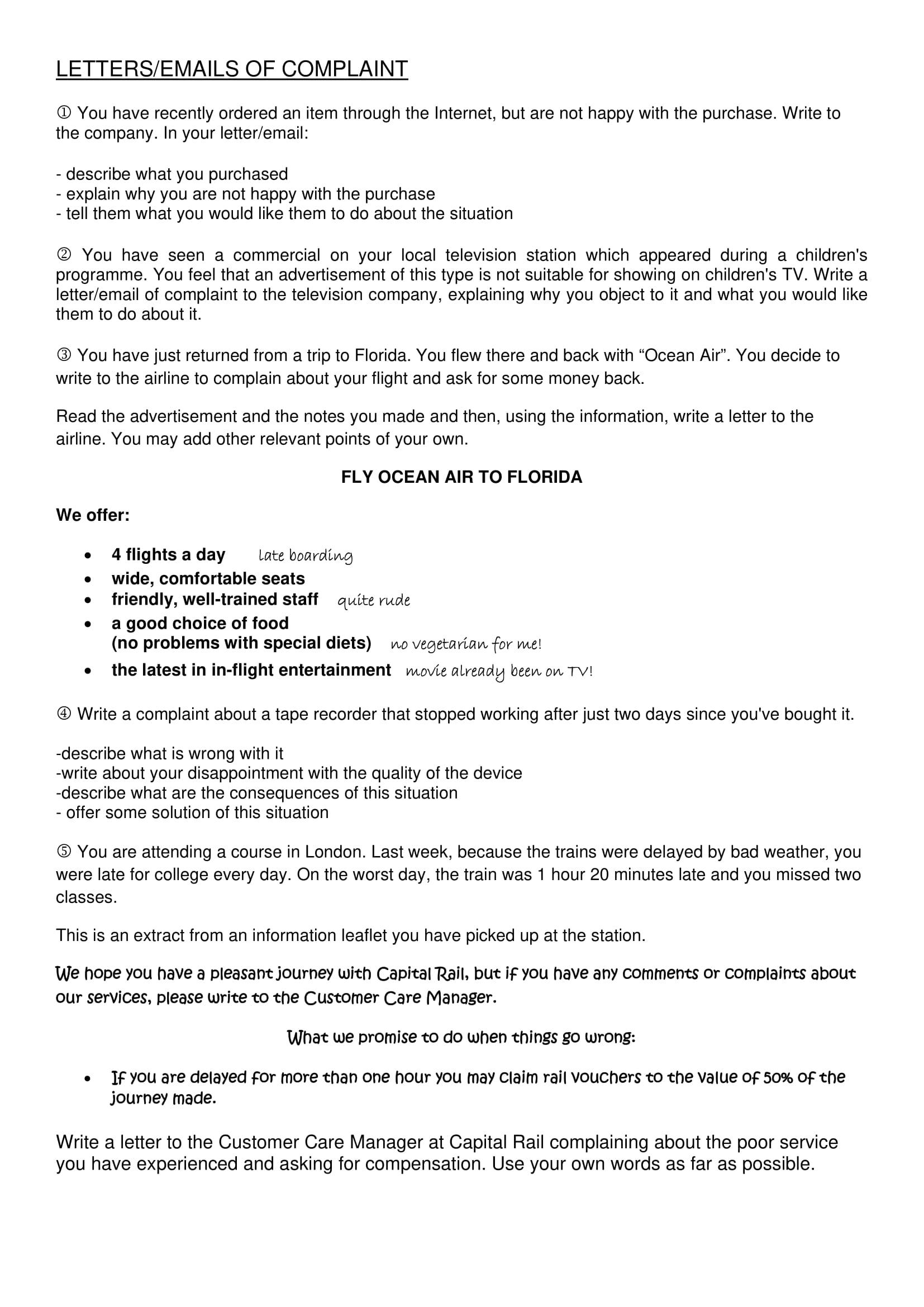 Complaint Letter Examples  Pdf
