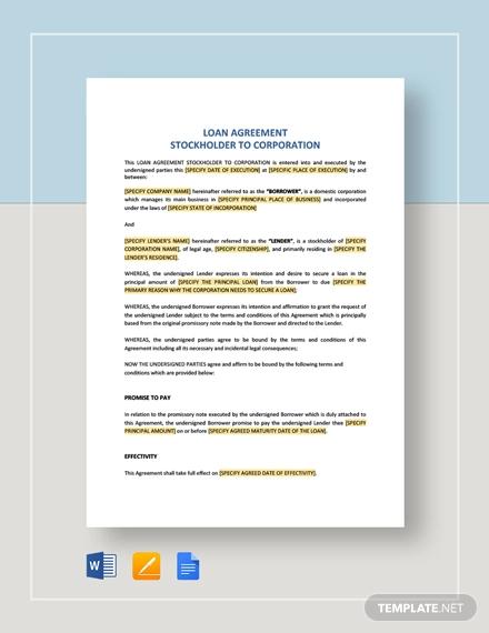 loan agreement stockholder