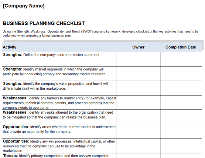 Business checklist examples pdf business planning checklist example wajeb