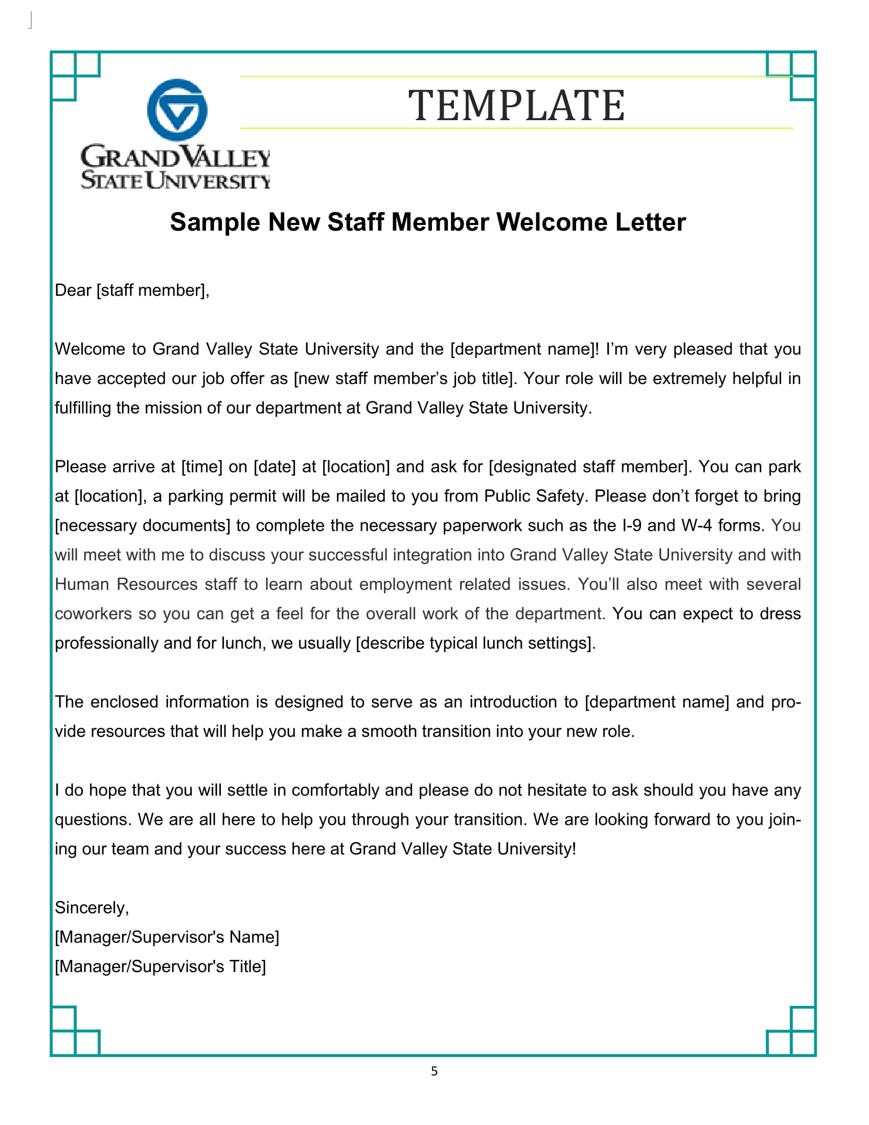New Staff Welcome Letter Template Example