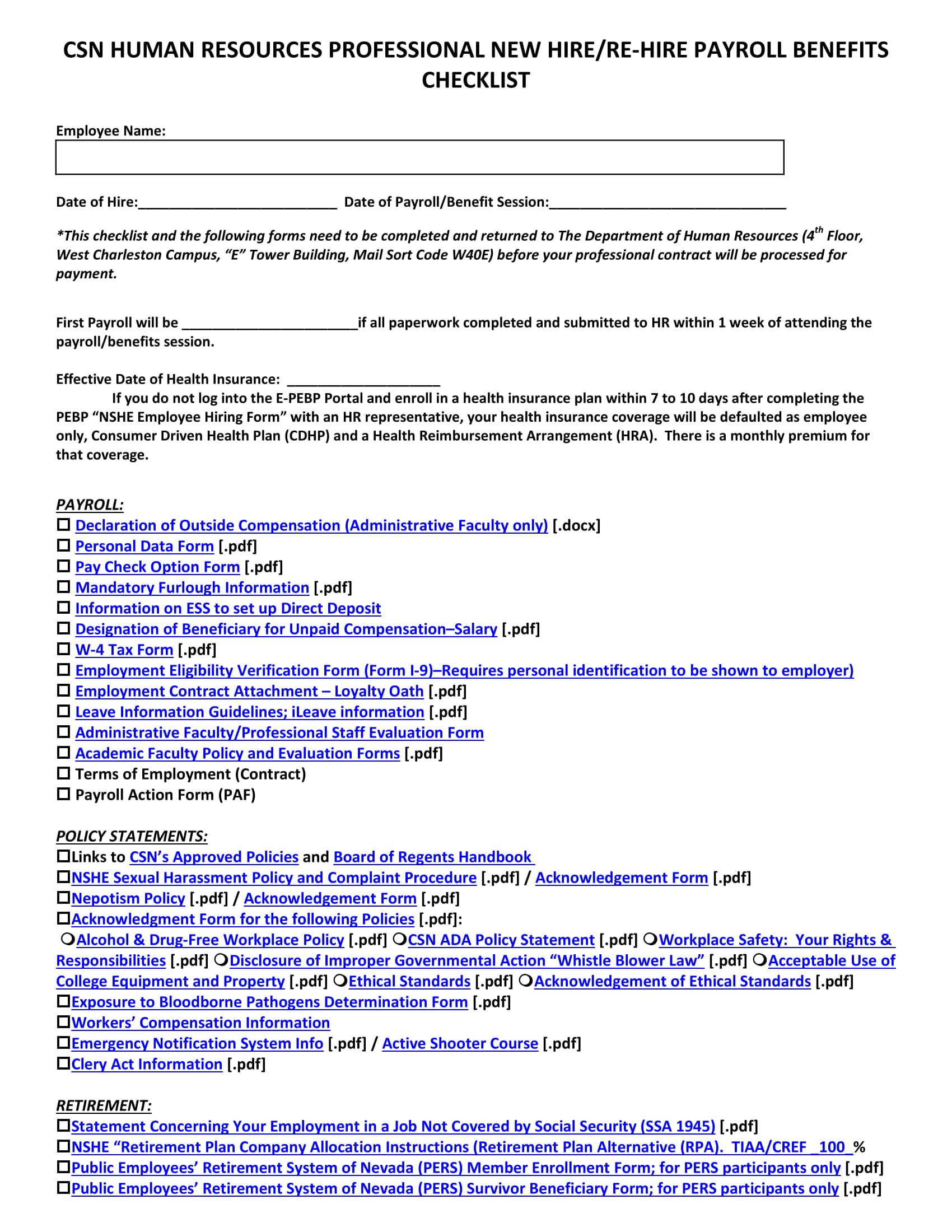 employee hire form
