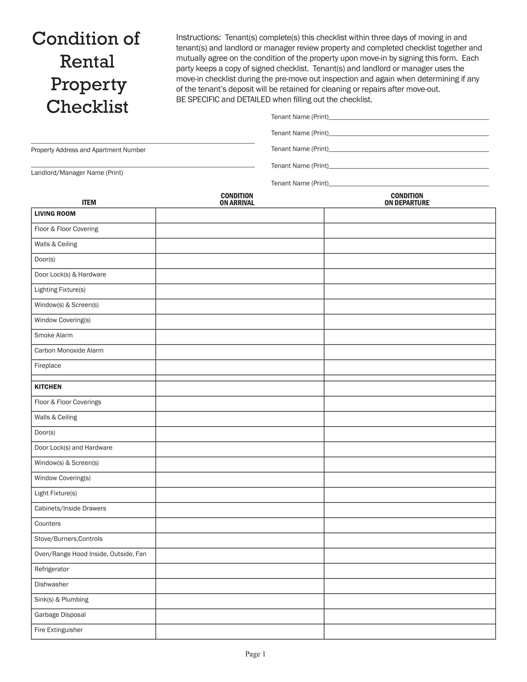 rental condition checklist 1