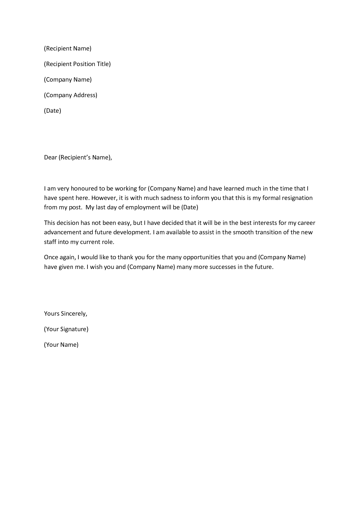 Writing a heartfelt resignation letters in pdf resign letter 6 altavistaventures Image collections
