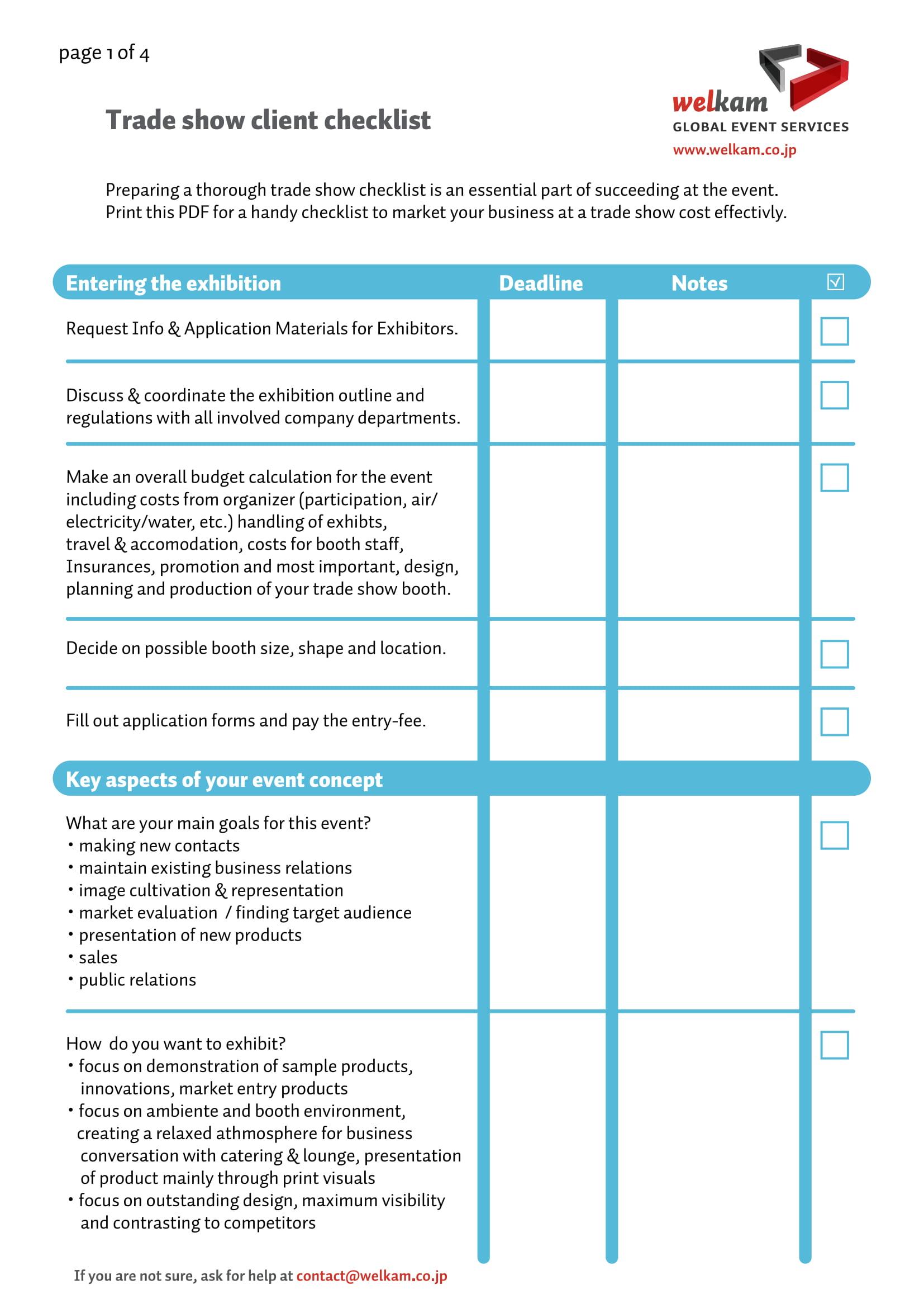 9 Trade Show Checklist Examples Pdf Examples