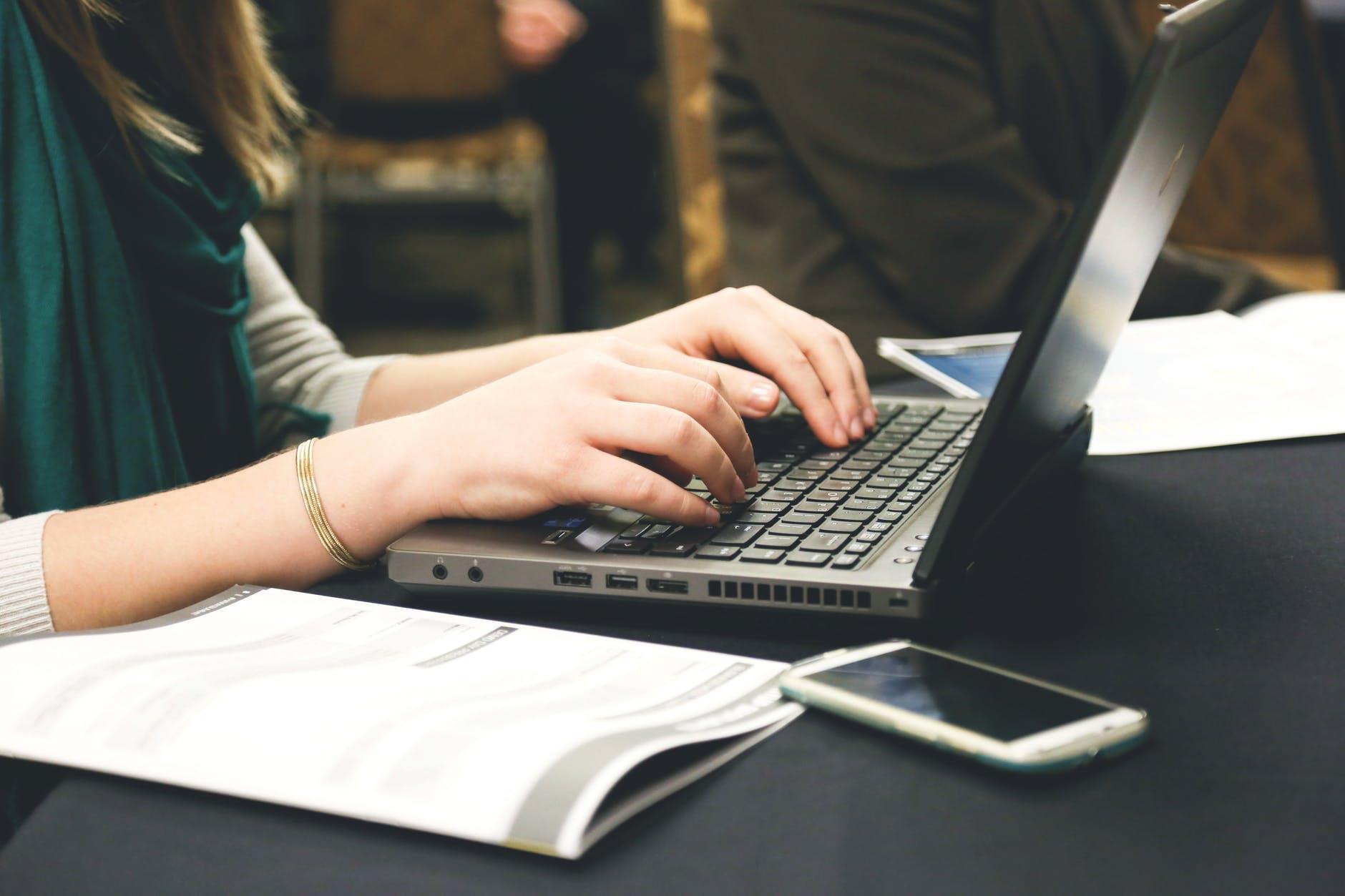 woman typing writing windows1