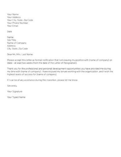 leaving job letter sample