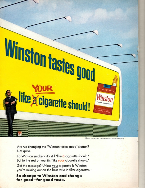 1960s winston cigarettes big yellow billboard