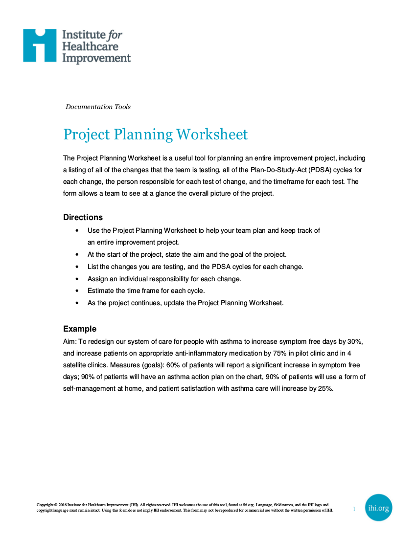 1project planning worksheet