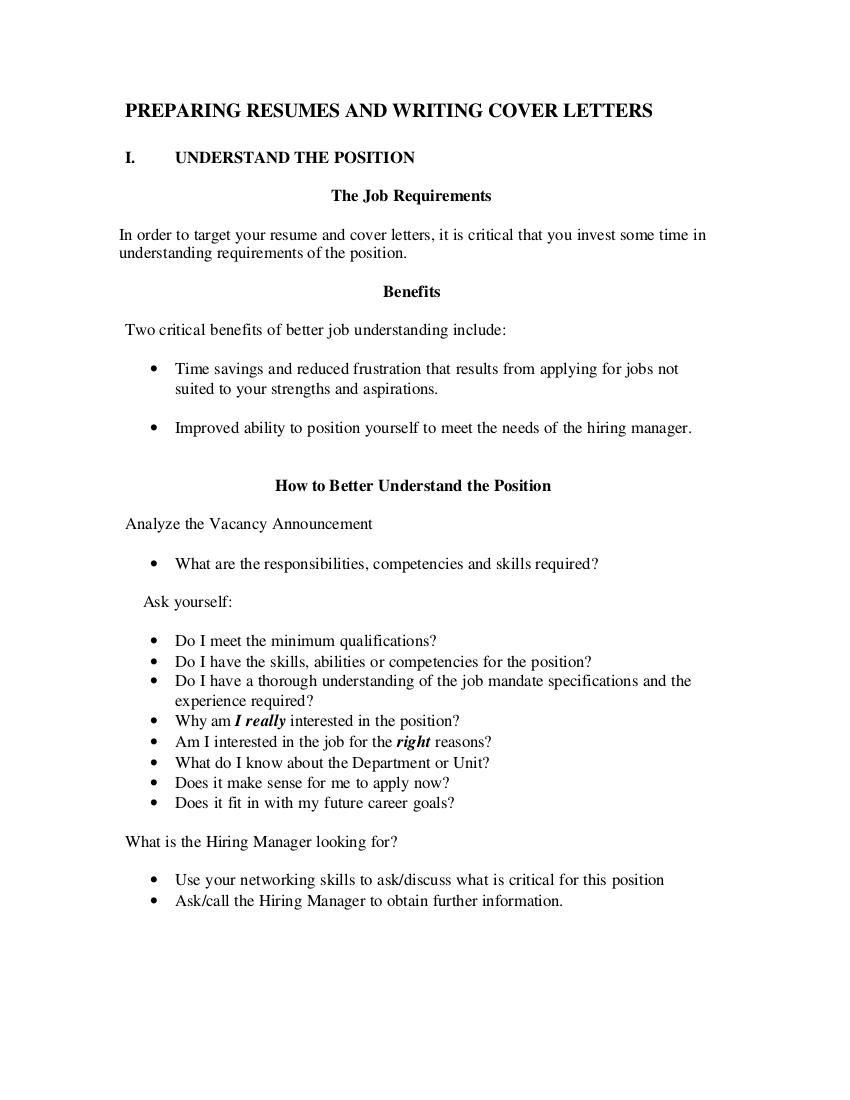 preparing resumes