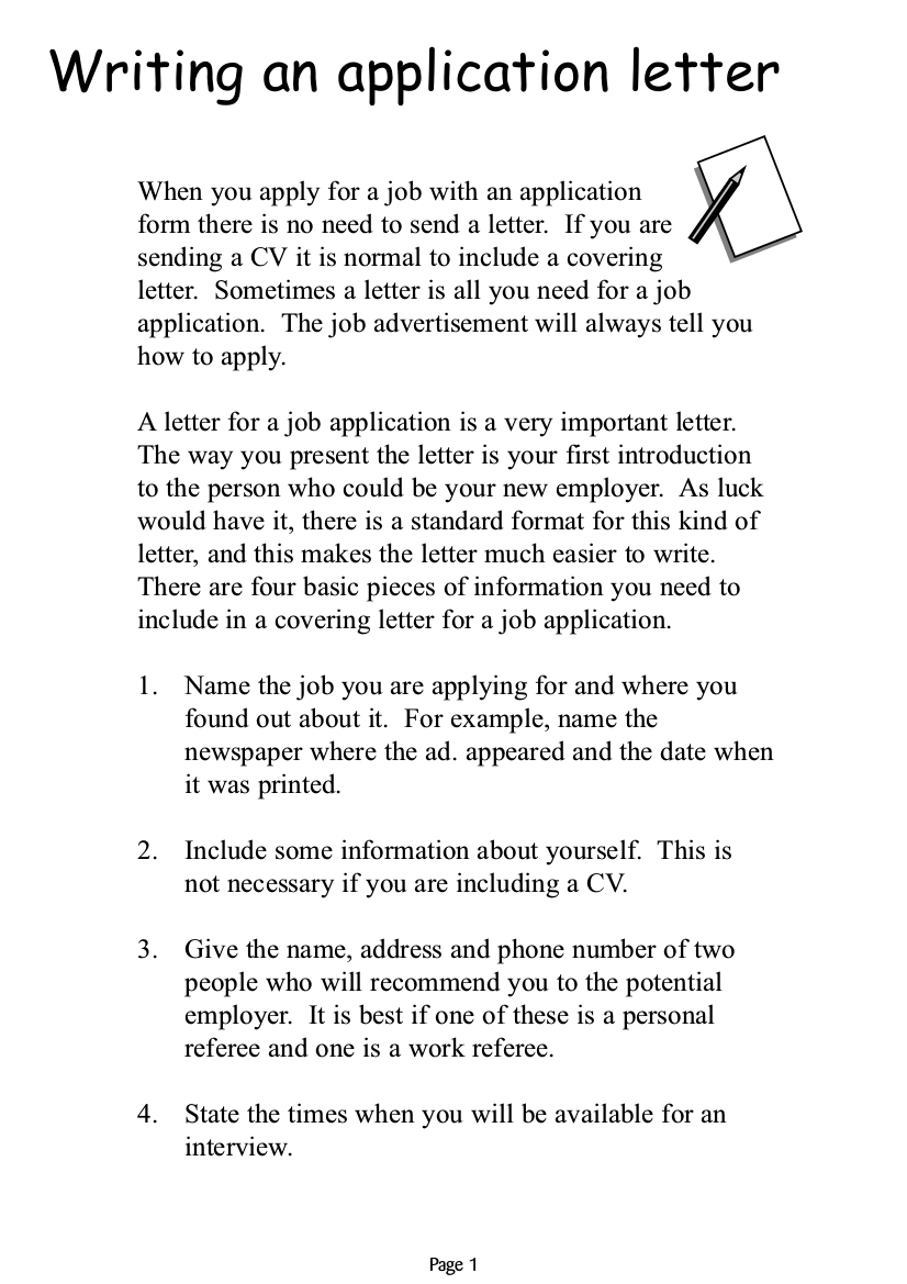 Job Application Letter Examples  Pdf