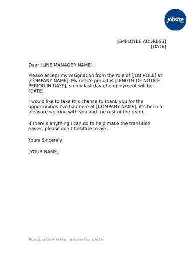 Resignation Letter Examples In Pdf