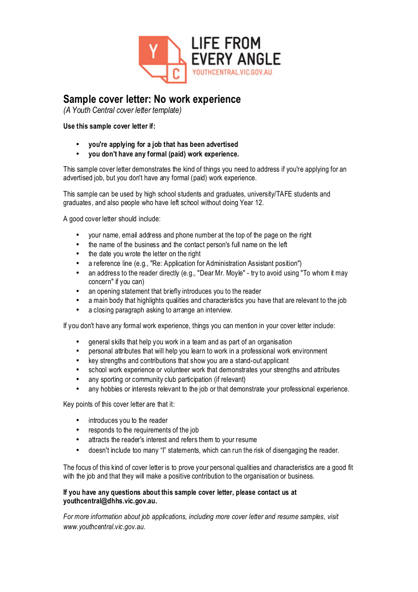 sample cover letter with no work experience