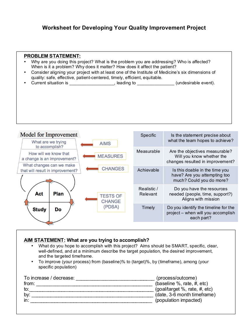 2worksheet for developing your quality improvement project