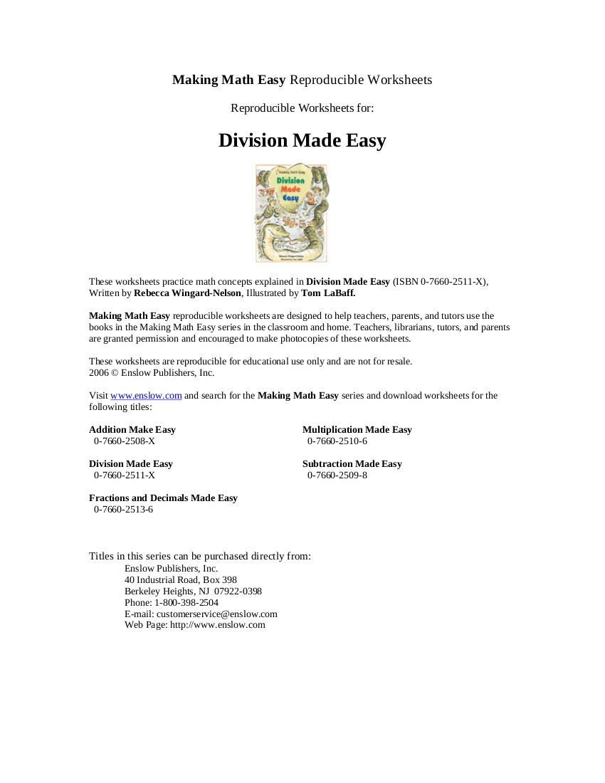 3division made easy worksheet