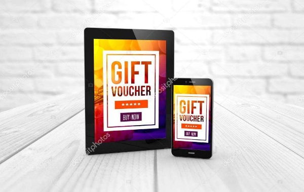 3d rendering of tablet pc and smartphone with gift voucher text