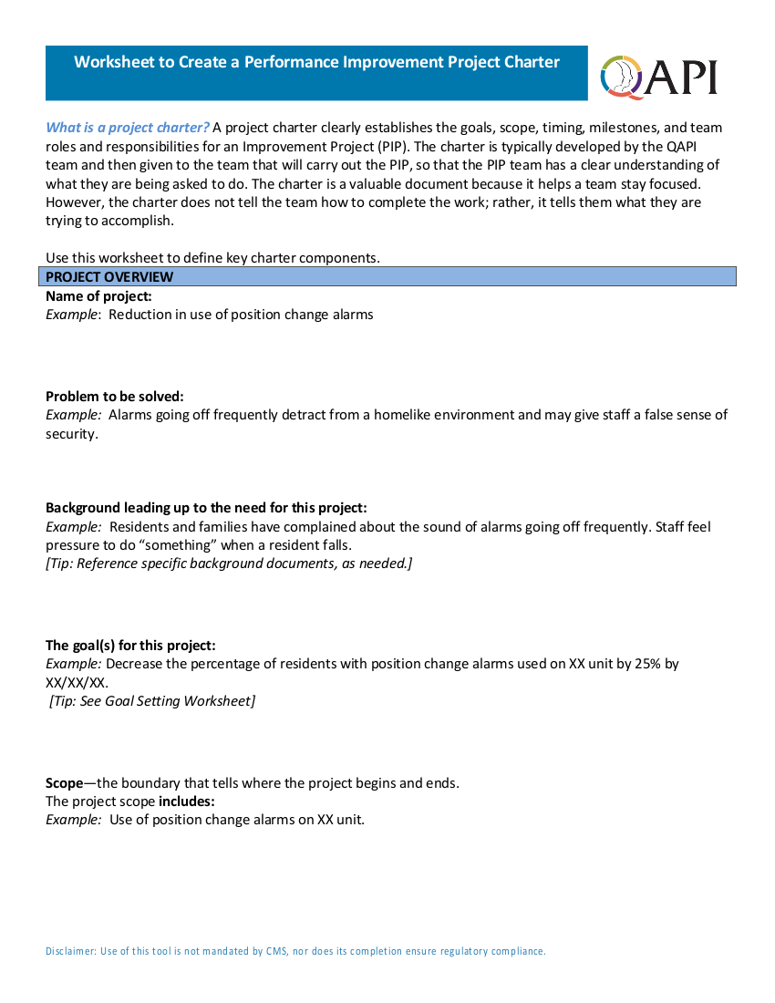 4worksheet to create a performance improvement project charter