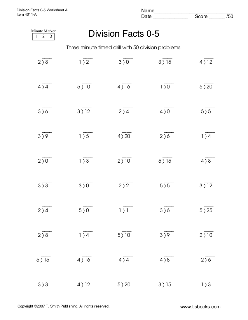 7 Division Worksheet Examples In Pdf