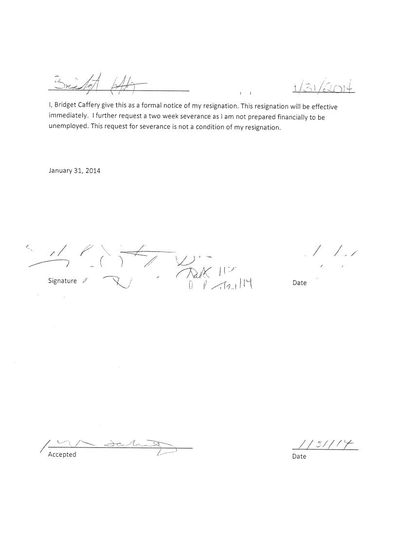 Short Resignation Letter Example