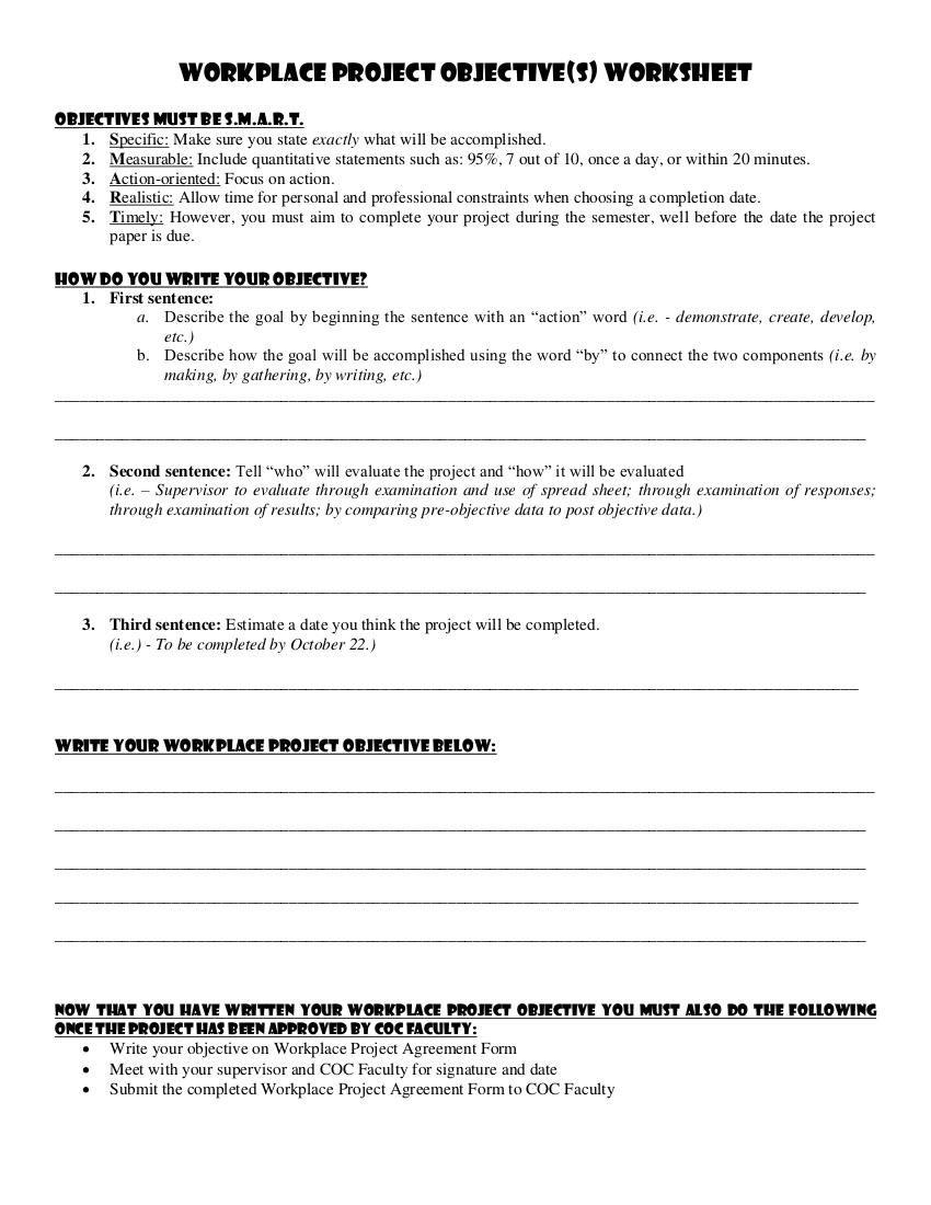 6how to write workplace project worksheet