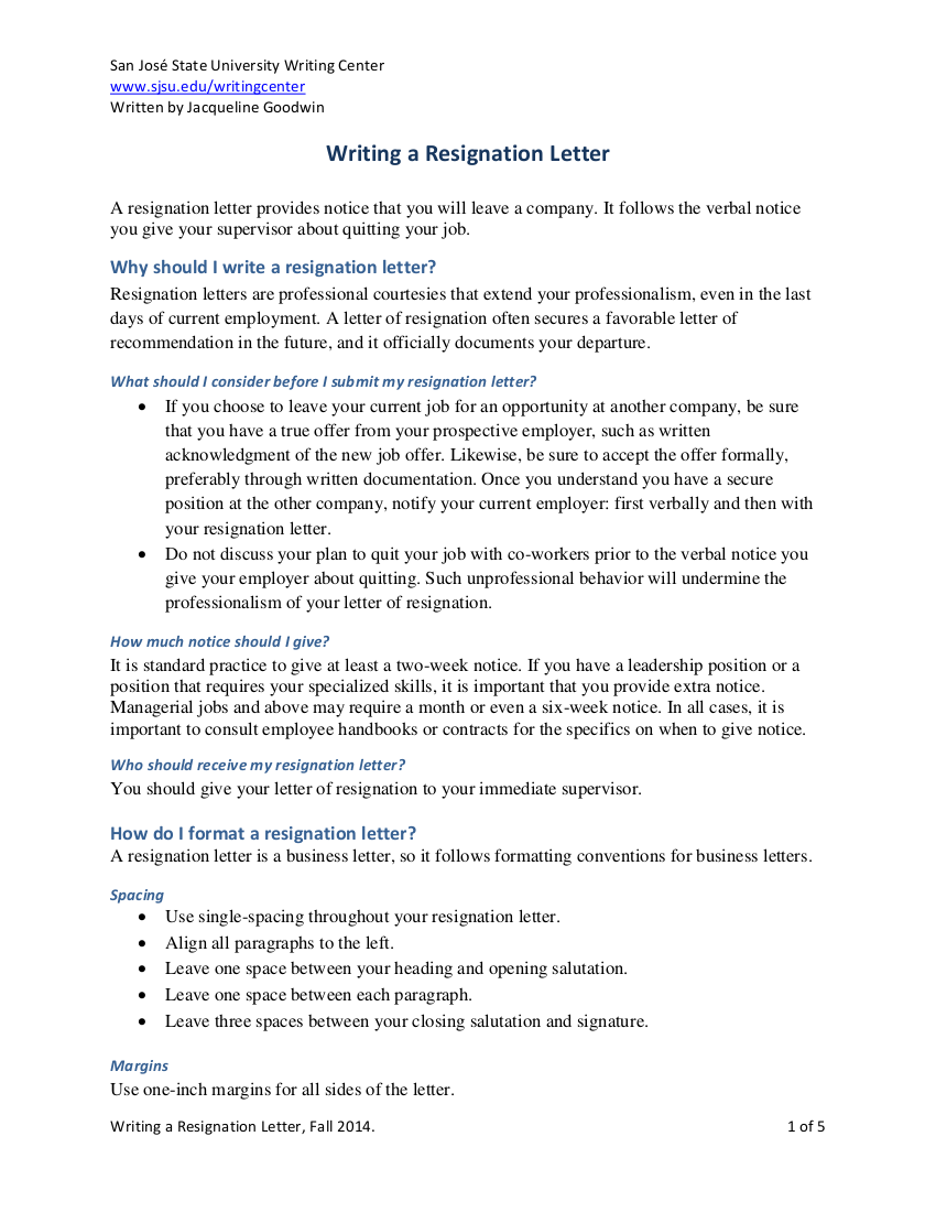 7+ Short Resignation Letter Examples in PDF | Examples