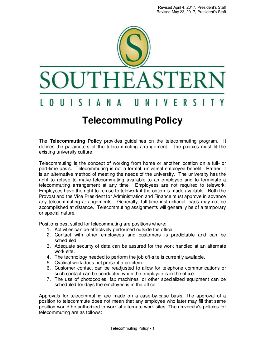 6sample telecommuting policy