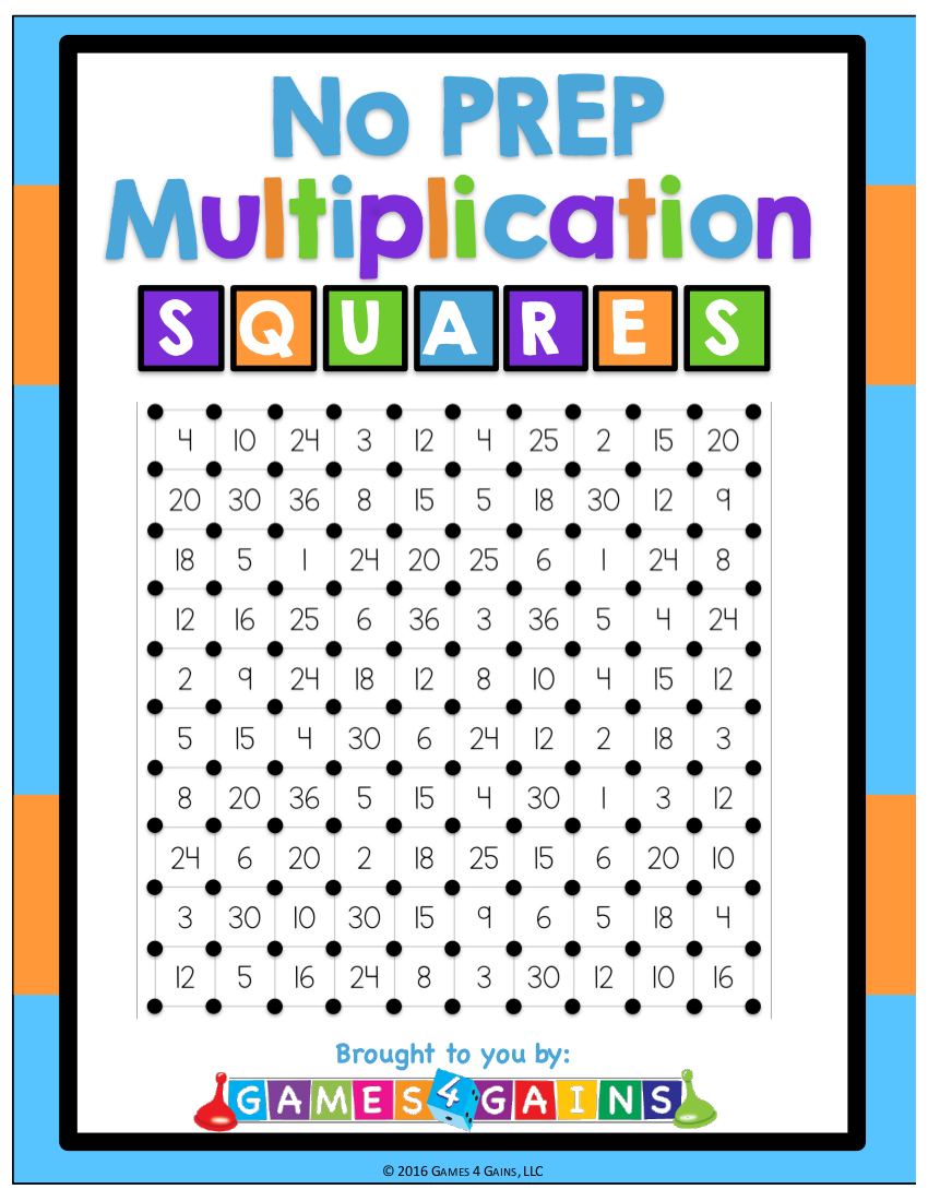 7multiplication squares worksheet