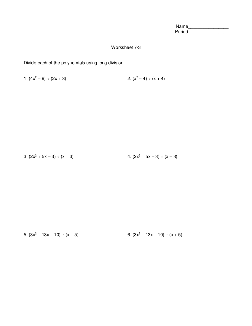 8dividing polynomials using long division worksheet