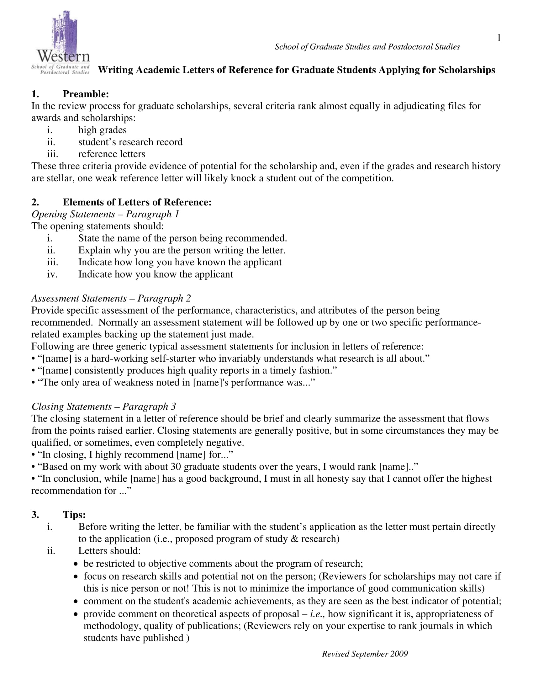 academic reference letter for graduate students scholarship